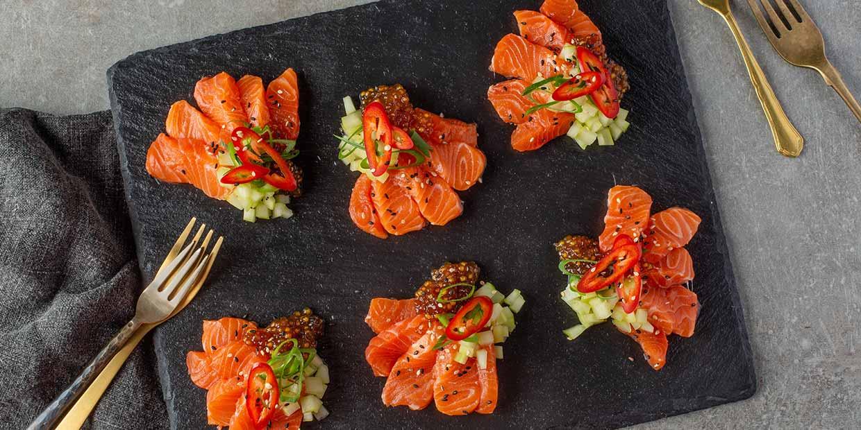 Salmon sashimi with soy caviar